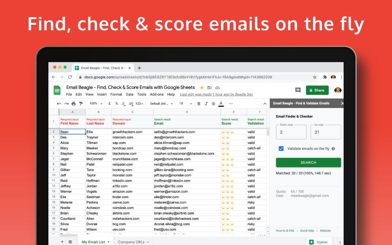 Easily find, score and validate emails in Google Sheets